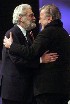Schauspielgrössen unter sich: Maximilian Schell (r.) und Omar Sharif. (Bild: Keystone)