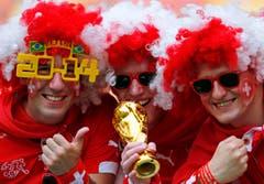 Diese Schweizer Fans träumen bereits vom WM-Titel. (Bild: Keystone)