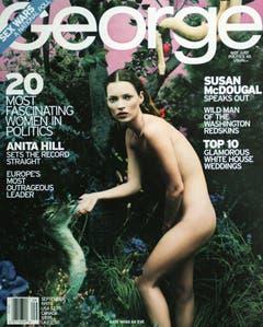 """Zerbrechlich und fast schon androgyn: Kate Moss als nackte Eva auf dem Titelbild des Magazins """"George"""" (1997). (Bild: Keystone)"""