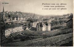 Die Ruckhaldekurve auf einer Ansichtskarte mit christlichem Sinnspruch in französischer Sprache. Auffällig ist im Vergleich zum ersten Bild von 1889, wie sich die Bebauung zwischen St.Leonhard und St.Otmar entwickelt hat. Im Zuge des Stickereibooms entstand hier ein für damalige Verhältnisse grossstädtisches Wohnquartier. (Bild: Stadtarchiv der Ortsbürgergemeinde St.Gallen)