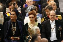 Katars First Lady Sheikha Mozah bint Nasser al-Missned, Prinzessin Lalla Salma von Marokko und Fürst Albert von Monaco. (Bild: Keystone)