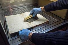 Höchste Schutzmassnahmen: Der Experte befreit ein stark beschädigtes Archivband vom Schimmel. (Bild: Urs Lindt)