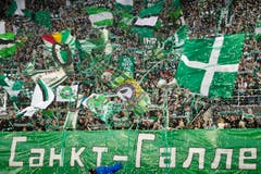 """Vor dem Spiel haben die FCSG-Fans sogar ein kyrillisches Transparent gehisst. Darauf stand """"Fussballstadt St.Gallen"""". (Bild: Michel Canonica)"""