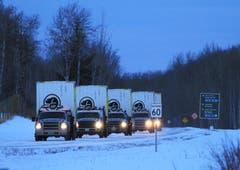 Mit diesen Autos – beladen mit Transportboxen – wurden die Tiere in den Nationalpark gebracht. (Bild: Johane Janelle / ©Parks Canada Bison)