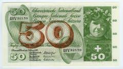 Die 50er-, 100er-, 500er- und die 1000er-Noten von Pierre Gauchet bilden erstmals in der Schweizer Banknotengeschichte eine thematische Einheit. (Bild: Archiv der SNB)