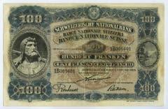 Die 100er-Note stammt wiederum vom Orell-Füssli-Mitarbeiter Balzer. Zu sehen ist Wilhelm Tell auf der Vorderseite... (Bild: Archiv der SNB)
