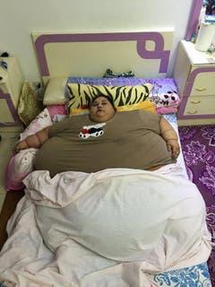 Mit einem Gewicht von rund 500 Kilo gilt Eman Ahmed als schwerste Frau der Welt. (Bild: Keystone)