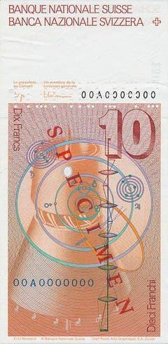 Die Nationalbank übernahm zum ersten Mal die alleinige Federführung bezüglich Planung, Organisation und Realisation in Zusammenarbeit mit Grafikern, Druckern, Papierfabrikanten, Druckfarben- und Maschinenproduzenten. (Zeichnung: Wasserturbine, Sonnensystem und Strahlengang in einem Linsensystem) (Bild: Archiv der SNB)