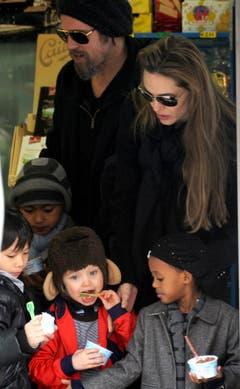 Die Familie Jolie-Pitt in Venedig. (Bild: Keystone)