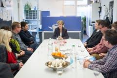 Im Redaktionsgebäude in Herisau setzte sie sich mit den Journalistinnen und Journalisten an den Tisch. (Bild: Ralph Ribi)