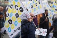 An der Kundgebung wurde auch Kritik an den Swissprinters-Besitzern laut. (Bild: Michel Canonica)