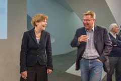 Esther Friedli und Toni Brunner freuen sich trotz Niederlage über das gute Ergebnis. (Bild: Michel Canonica)