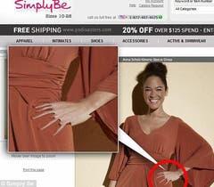 Simply Be ist ein Unternehmen aus Manchester, das Kleider in Übergrössen verkauft - und somit ein authentisches Frauenbild propagieren will. Wären da nur nicht diese Hände... (Bild: Simply Be)