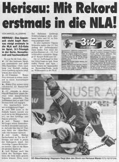 """So berichtete der """"Blick"""" damals über den sensationellen Aufstieg des SC Herisau. (Bild: Archiv)"""