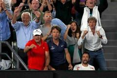 Blick in die Box des Nadal-Teams. (Bild: Keystone)