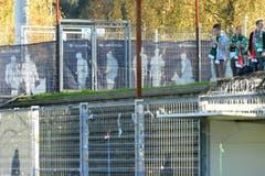 Im bei FCSG-Spielen normalerweise prall gefüllten Gästesektor des Stadions Brügglifeld herrschte am Samstagabend gähnende Leere. (Bild: Keystone)