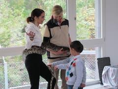 Laetitia Guarino zeigte im Umgang mit der Würgeschlange keine Angst. (Bild: pd)