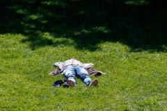 Siesta im Sonnenschein, aufgenommen in einem Park in Genf. (Bild: SALVATORE DI NOLFI (KEYSTONE))