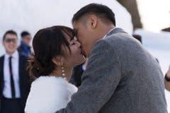 Dieser Kuss war echt. (Bild: Keystone)