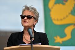 Kantonsrätin Christa Thorner spricht am Empfang. (Bild: Reto Martin)