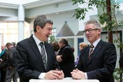 Im Januar 2012: die beiden gut gelaunten FDP-Regierungsratskandidaten Willi Haag und Martin Klöti beim Wahlauftakt in Heerbrugg. (Bild: Stefan Beusch)