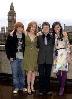 """25. Juni 2007: Rupert Grint, Emma Watson, Daniel Radcliffe und Katie Leung vor der Premiere von """"Harry Potter and the Order of the Phoenix"""". (Bild: Keystone)"""