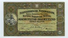 Die zweite Banknotenserie wurde zwischen 1911 und 1914 erstmals ausgegeben. Die 5-Franken-Note war dafür bestimmt, die silberne 5-Franken-Münze zu ersetzen, die im Kriegsfall oder während einer schweren Krise gehortet und somit weitgehend dem Zahlungsverkehr entzogen wurde. Sie zeigt auf der Vorderseite Wilhelm Tell. (Bild: Archiv der SNB)