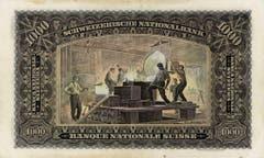 Auf der Rückseite der 1000er-Note sind Giesser zu sehen. Die Noten der zweiten Serie wurden erst in der Jahren 1956/1957 ersetzt - eine ausserordentliche Lebensdauer für Banknoten. (Bild: Archiv der SNB)