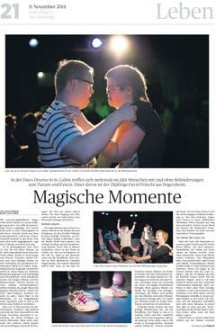 """Einen Award hat die Reportage von Raya Badraun (Text) und Luca Linder (Fotografie) über """"Magische Momente"""" geholt - es geht um Behinderte in einer Disco. (Bild: pd)"""