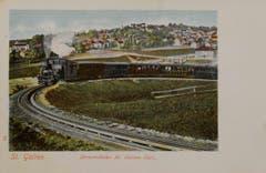 """Das """"Gaiserbähnli"""" in der Ruckhaldekurve. Ansichtskarte nach 1900. (Bild: Stadtarchiv der Ortsbürgergemeinde St.Gallen)"""