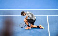 Federer unmittelbar nach dem Sieg. (Bild: Keystone)