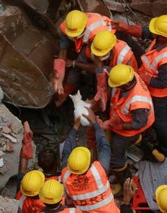 Katze nach Einsturz eines Gebäudes in Mumbai gerettet. (Bild: Keystone)
