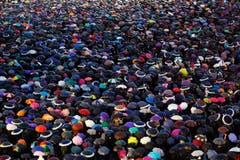 Besucher mit Regenschirmen harren auf dem Petersplatz in Rom aus. (Bild: Keystone)