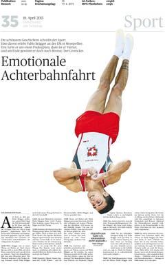 Der dramatische Gewinn der Bronzemedaille von Kunstturner Pablo Brägger wurde von Bildredaktion, Layout und Grafik gekonnt inszeniert. (Bild: pd)
