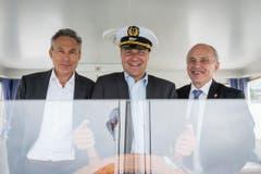 Aufgenommen auf der MS Thurgau: Blocher mit SVP-Franktionspräsident Adrian Amstutz und Bundesrat Ueli Maurer. (Bild: Keystone)