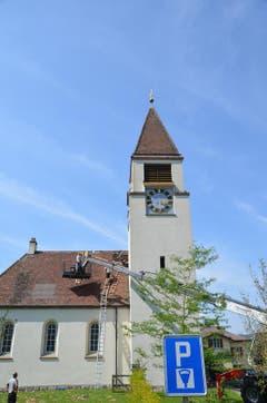 Die Schäden an der Kirche Mammern werden repariert. (Bild: Margrith Pfister-Kübler)