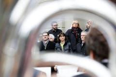 die Regierungsräte Jakob Stark, Monika Knill und Claudius Graf-Schelling. (Bild: Donato Caspari)