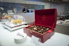 ...und wie es sich für die Schweiz gehört, hat es in der VIP Lounge auch Schokolade. (Bild: Ralph Ribi)
