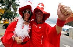 Schweizer Fans vor dem Spiel gegen Honduras in Manaus. (Bild: Keystone)
