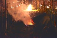 Wärmende Feuer sollen in den kalten Frostnächten die Reben vor Frostschäden schützen. (Bild: Mario Testa)
