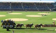 Der Feldschlösschen Sechsspänner fährt mit dem Schlossfräulein von Estavayer in die Arena ein. (Bild: Feldschlösschen/André Springer)