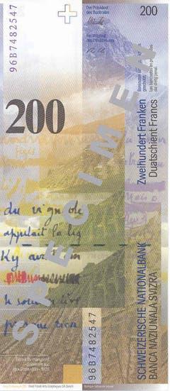 Auf deren Rückseite sind Bergwelt, See und Faksimile zu sehen. (Bild: Archiv der SNB)