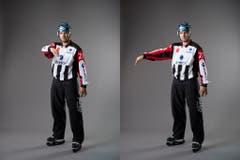 Spieler im Torkreis (IIHF-Regel 184I): Wenn ein angreifender Feldspieler eine Position im Torraum einnimmt, wird das Spiel unterbrochen und das folgende Anspiel erfolgt am nächstgelegenen Anspielpunkt in der neutralen Zone. Eine Halb-Kreisbewegung wird mit einem Arm auf Brusthöhe parallel zur Eisfläche ausgeübt, um den Torraum nachzuahmen, und dann mit dem anderen waagerecht gestreckten Arm in Richtung der Neutralen Zone zu zeigen. (Bild: Keystone)