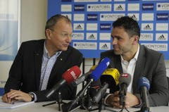 Wollen den Rekordmeister wieder auf Kurs bringen: CEO André Dosé und Trainer Uli Forte. (Bild: Keystone)