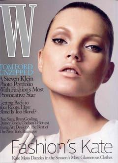 Ein bisschen wie Twiggy. Kate Moss 2005 auf dem Cover des Magazins W. Insgesamt zierte Moss in ihrer Karriere über 300 Titel. (Bild: Keystone)