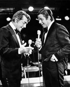 Der Attraktive und das Gummigesicht: Dean Martin und Jerry Lewis 1978 an einer Benefit-Veranstaltung der Muskeldystrophie-Vereinigung in Las Vegas. (Bild: Keystone)
