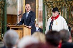 Bundesrat Alain Berset fand beim Festakt lobende Worte für Mönch Gallus. (Bild: Benjamin Manser)