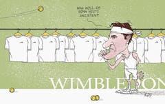Roger Federers einziges Problem dieses Jahr in Wimbledon (2. Juli 2017). (Bild: Tom Werner)