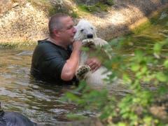 Knut in den Armen eines zweiten Pflegers. (Bild: Umberto W. Ferrari)