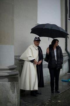 Der Wettergott war den Organisatoren des Gallus-Jubiläums vorerst nicht hold. (Bild: Benjamin Manser)